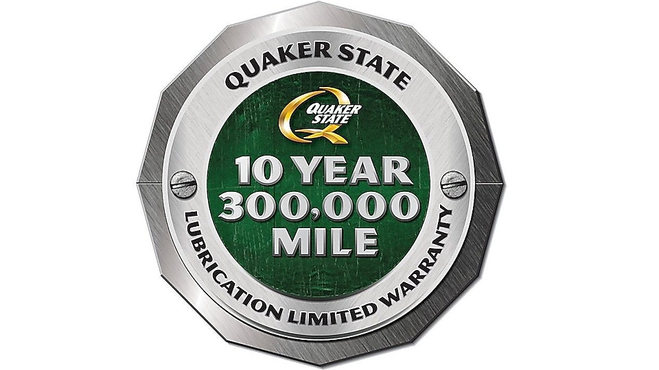 Quaker State: 10 years or 300,000 miles warranty